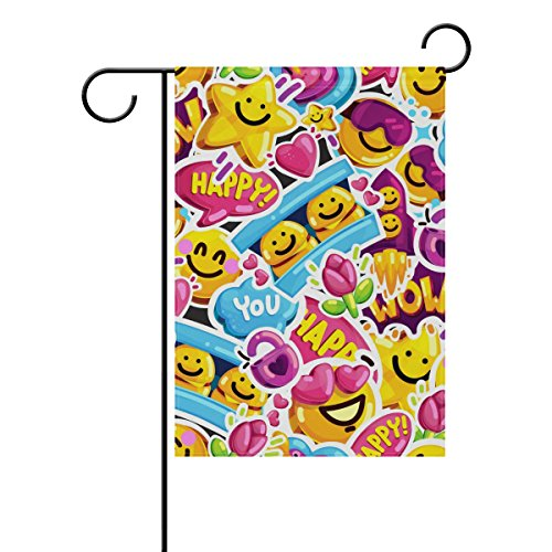 ALAZA Smiley Faces Sticker Emoji Outdoor Garden Flags Yard F
