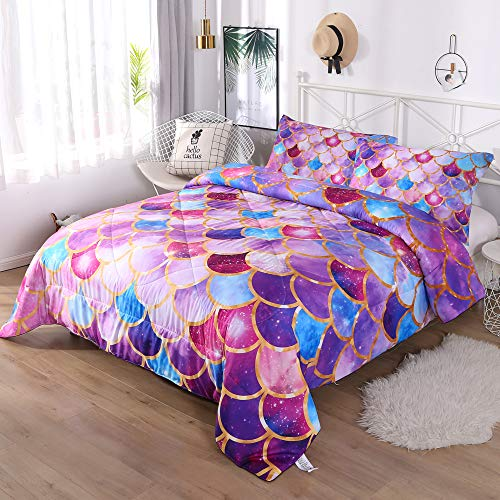 DECMAY Purple Blue Mermaid Fish Scale Comforter Set 3D Sparkly Gold line Bedding Very Soft Breathable 3 Pieces Box Stitched Durable Quilt Set for Girls Woman Children and Adults,Full Size (Comforter Set Ladies)