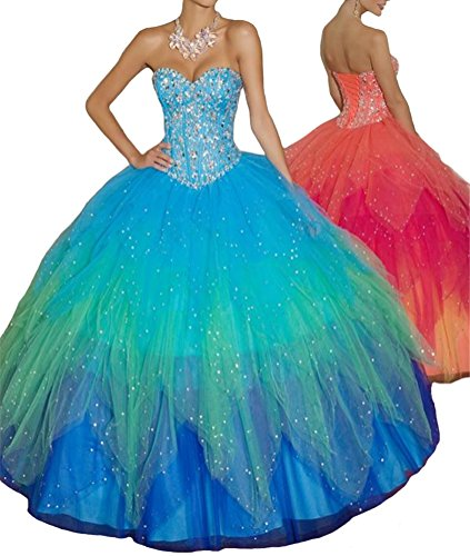 Quinceanera Sweet Vestidos Jacket Aisha Gown With 16 Beading Sweetheart Turquoise Ball Womens' AwaqR8