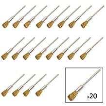 Yasumai 20 PC Brass Wire Brushes Pen Wheel for Dremel Die Grinder Accessories Rotary Tools Polishing Buffing Clean Wheels Shank 2.35mm