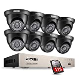 ZOSI 8Channel Security Surveillance Camera System HD-TVI 720P Video DVR 8X Outdoor Indoor