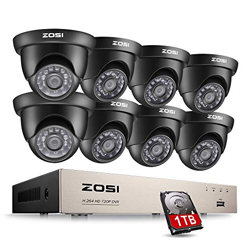 ZOSI CCTV Security System ,8CH 720P/1080N HD-TVI DVR Recorder and (8)1.0MP 720P(1280TVL) 65ft Night Vision Indoor/Outdoor Weatherproof Surveillance Cameras 1TB Hard Drive