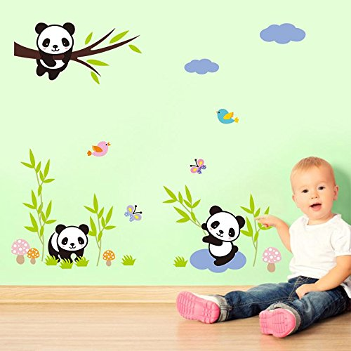 Tupac Halloween Costumes (Removable DIY Cute Panda Bamboo Grass Wall Stickers for Kids Rooms Bedroom Home Decor DIY Decoration PVC Waterproof)