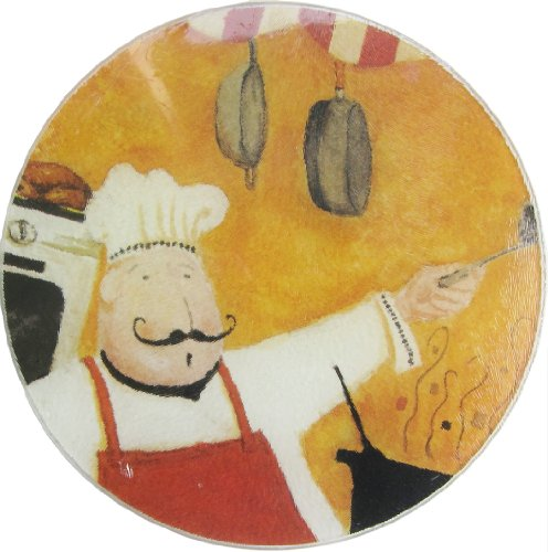 Fat Italian or French Chef Round Tempered Glass Cutting Board