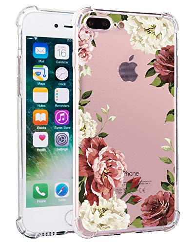 Feeling Compatible iPhone 8 Plus Case, iPhone 7 Plus Case Girl Floral Clear TPU Flexible Slim Soft Rubber Protective Cover for 5.5 Inch