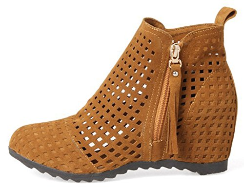 Cut IDIFU Wedge High Boots Out Short Womens Sexy High Yellow Ankle Zippers Heel Toe With Faux Suede Round rrwE8zq