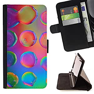 DEVIL CASE - FOR LG G2 D800 - Water Droplets Colorful Neon Pink Bright - Style PU Leather Case Wallet Flip Stand Flap Closure Cover