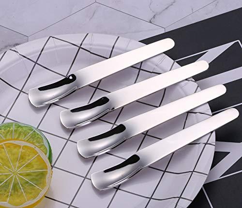 4 PCS Flatware Dessert Spoons Square Shape Ice Cream Spoons Teaspoons Stainless Steel Mini Tea Coffee Spoons