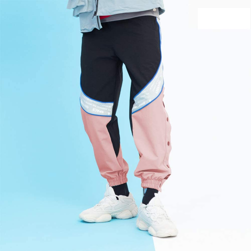 SXELODIE Autumn and Winter String Label and Plus Velvet Sports Pants Pants Men and Women Hip-Hop Casual Loose Feet Pants Closed