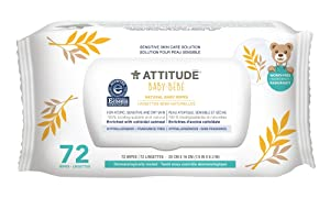 ATTITUDE Sensitive Skin Care Baby Natural Baby Wipes Fragrance Free 72 Wipes