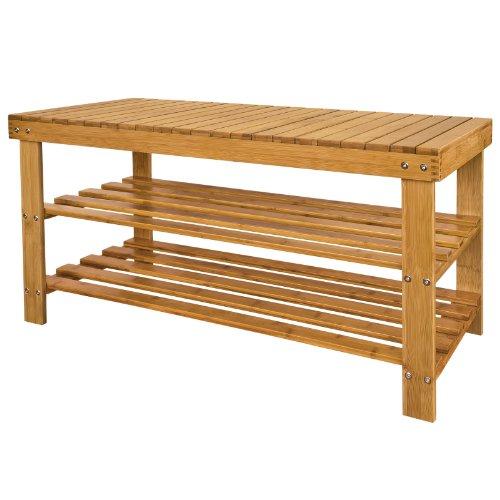 Haotian 100% Bamboo Shoe Rack, Bench, Display,Seat ,Size: 90cm×39cm×45.5cm,FSR11-L-N