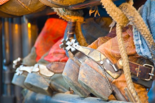 Closeup of Boots and Spurs of Cowboys on a Fence Photo Art Print Poster 18x12 inch