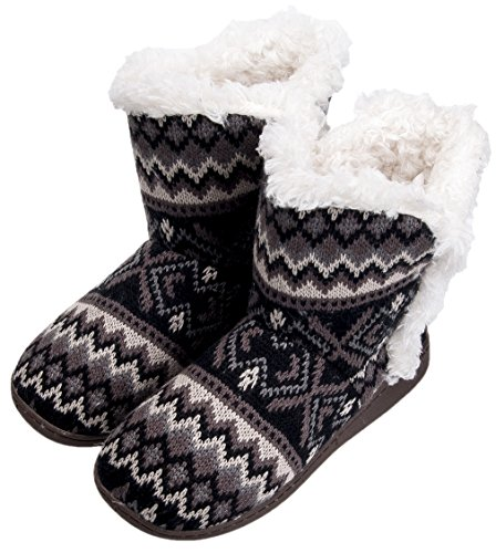 MIXIN Womens Anti Slip Knitted Woolen Striped Faux Fleece Lined Indoor Outdoor Slipper Boots Wave Black UZ5TBV747D