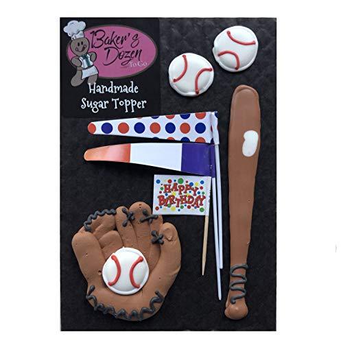 Baseball Softball Glove Bat- 7 pcs Edible Royal Icing Cake Topper Cupcake Decoration Handmade by