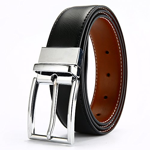 DWTS Men's Genuine Leather Dress Belt For Men Reversible with Rotated Buckle