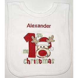 Baby 1st Personalised Reindeer Applique Christmas Bib. (White)