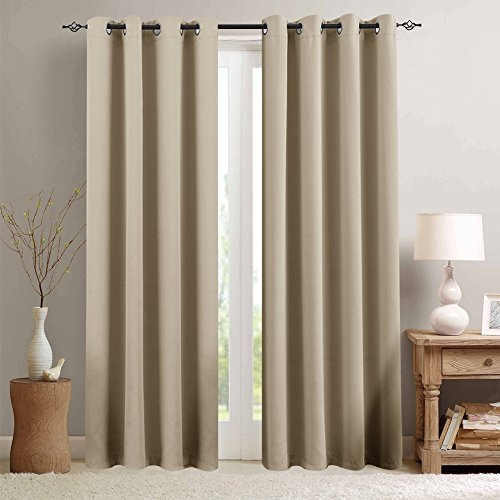 (Room Darkening Window Curtains for Bedroom Triple Weave Moderate Blackout Curtains for Living Room 95 inches Long Light Reducing Window Treatment Set, Taupe, 2 Panels)