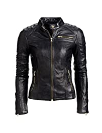 BT-Fashion Women's Sexy Roxy Ladies Motorcycle Black Real Leather Jacket