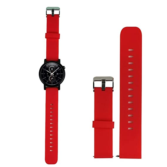 22MM Smart Watch Bands Pinhen Silicone Strap Band for LG Pebble Time Moto 360 Smart Watch Bands (22MM Silicone Red)