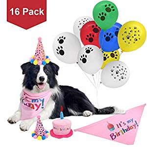 PUPTECK 16 Pack - Dog Birthday Bandana Scarfs- 2 Cute Party Hats- Durable Plush Cake Squeaky Chew Toy- Decorations Kit- 12pcs Colorful Paw Print Balloons 20