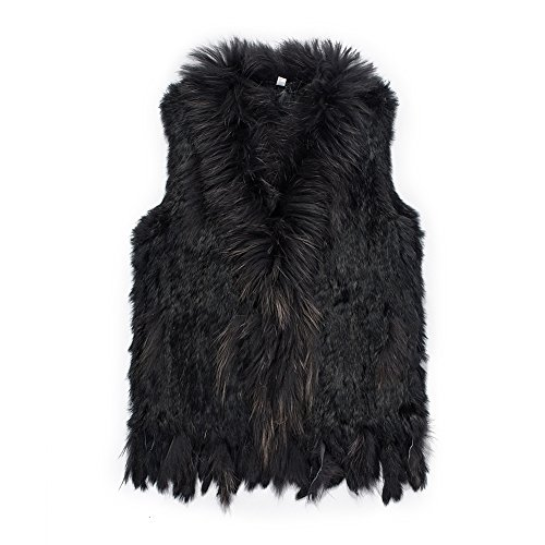 Warm Winter Mongolian Real Rabbit Fur Vest Jacket for Women(Black,XL)