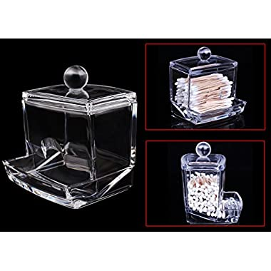 USTEK® Acrylic Cotton Swab box/Cotton Ball Storage/Makeup Pads Holder/Cosmetics Organizer/Toothpick Holder/Workbox Container Exquisite Crystal Clear