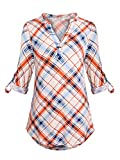Anna Smith 3/4 Sleeve Shirts for Women V Neck Tops Plaid Tunic Fall Clothes Fitting Pleat Jersey Knit Design Printed Pattern Blouse Fashion Elegant Soft Flare Plain Henley Work Blue and Orange L