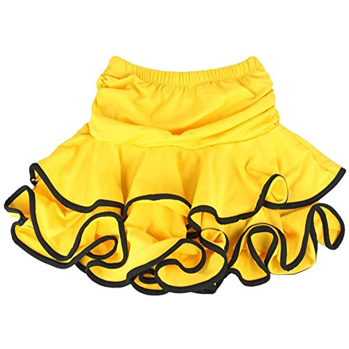 [Beautiful [Yellow] Little Girls Latin Dance Skirt Soft Practice Dress Asian M] (Chacha Dance Costume)