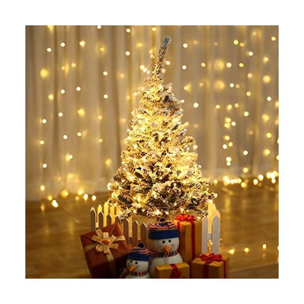 Qedertek Catena Luminosa, Cavo trasparente, Luci Stringa 23 Metri 200 LED, Addobbi Natalizi per Albero di Natale, Luce Natalizie per Decorazione Interno (Bianca Calda) 3 spesavip