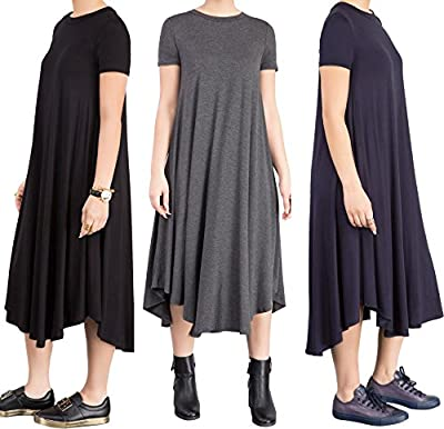 YouSun Women's Summer Casual Short Sleeve Round Neck Loose A-line T-Shirt Dress