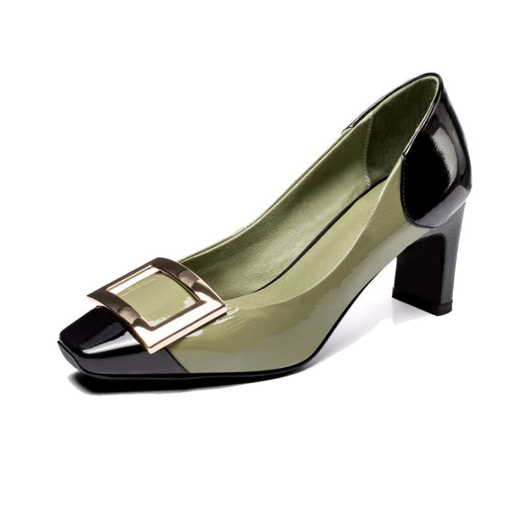 ZPEDY Scarpe da Donna, Testa Quadrata con Scarpe Singole, Retro, Tacco Alto, Moda, Eleganza