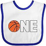 Inktastic - One- basketball first birthday Baby Bib White/Royal