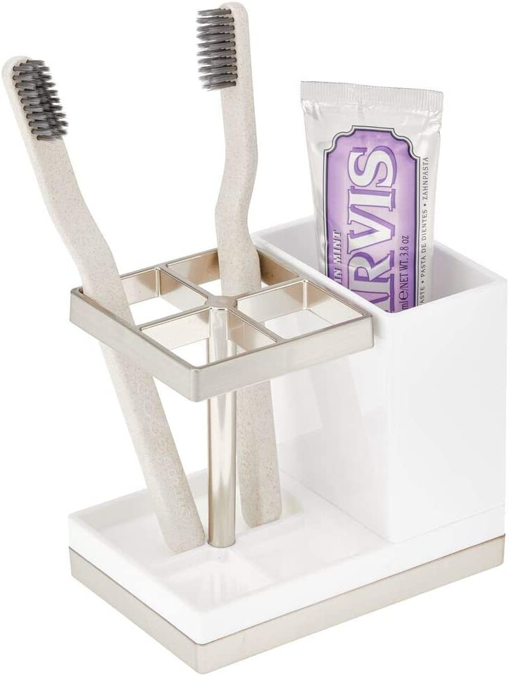 mDesign Decorative Plastic Bathroom Toothbrush and Toothpaste Stand Holder - Dental Organizer with 5 Storage Compartments for Bathroom Vanity Countertops and Medicine Cabinet - White/Brushed Metal