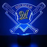Mirror Magic Store Milwaukee Brewers LED Night Light with Free Personalization - Night Lamp - Table Lamp - Featuring Licensed Decal