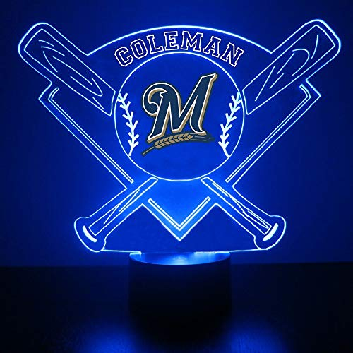 (Milwaukee Brewers Baseball LED Night Light Customized/Personalized Gift - Featuring Licensed Decal )