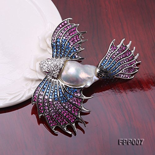 JYX Fine Bird-style White Baroque Pearl Pendant Brooch by JYX Pearl (Image #7)