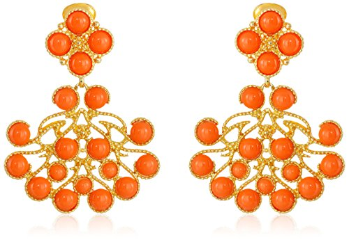 Kenneth Jay Lane Gold and Coral Cabochon Clip-On Earrings