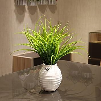 XINHOME Flor Artificial simulado establezca la Hierba Verde césped de Hierba Falsa decoración Fresca y Moderna