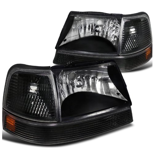 Black Headlights Diamond - Black Diamond Headlights W/Turn Signal Corner Parking Lights Made For And Compatible With Ford Ranger 1998-2000