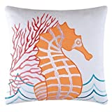 "C & F Enterprises 842981668D Orange Seahorse Applique Pillow, 18"" by 18"""