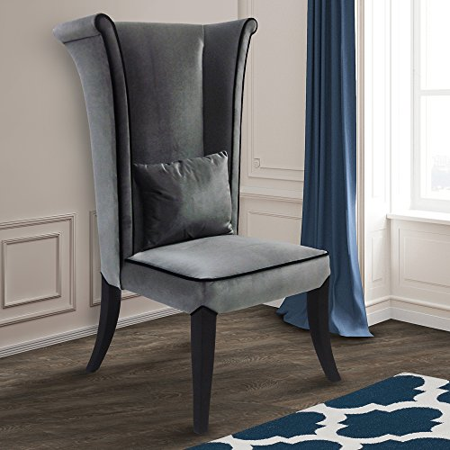 Armen Living LC847SIGR Mad Hatter Dining Chair in Grey Velvet and Black Wood Finish