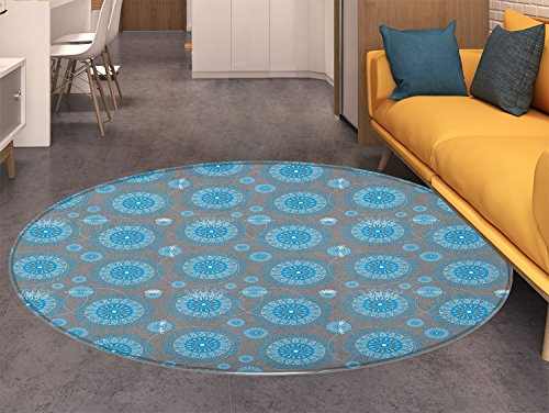 (Lace Non Slip Round Rugs Shabby Chic Traditional Circular Swirled Floral Ethnic Moroccan Pattern Oriental Floor and Carpets Azure and Baby Blue Grey)