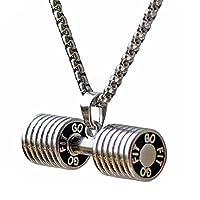 Collar de mancuernas de acero inoxidable Parejas Barbell Colgante Mantenga en forma la joyería Regalo de San Valentín (blanco pequeño)