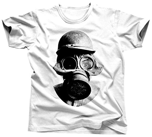 Kim Fit Fab Men's Steampunk Gas Mask T-Shirt XXX-Large White - Chemical Warfare Mask