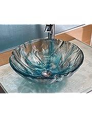 Bathroom Glass Vessel Tempered Textured Blue Sink Custom Modern Basin Design G3