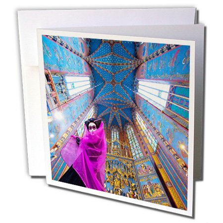 3dRose Danita Delimont - Poland - Composite of woman in Carnival costume in cathedral,Krakow, Poland - 12 Greeting Cards with envelopes (gc_249380_2) (Poland Costume)