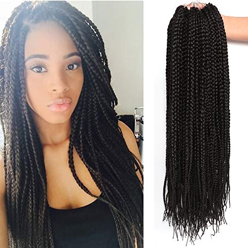 22 Inch Long Medium Box Braids Crochet Hair 7 Pakcs/lot Synthetic Hair Extension Box Braid Hair Crochet (22 Inch, 1B)