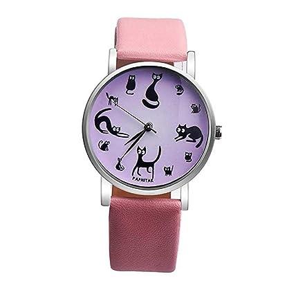 Relojes para mujer, ICHQ bonito diseño de gato, reloj analógico