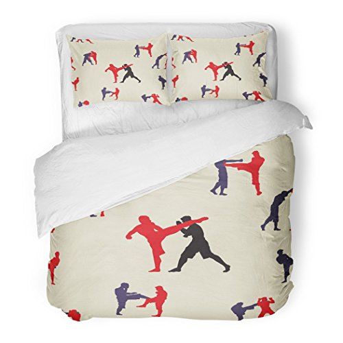 SanChic Duvet Cover Set Action Thai Boxing Muay Martial Collection Popular Style Text Graphic Asian Decorative Bedding Set with Pillow Sham Twin Size by SanChic