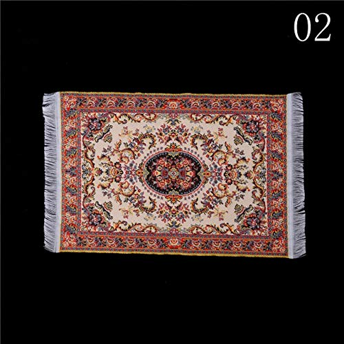 ZAMTAC 1:12 Dollhouse Miniature Embroidered Carpet Woven Floral Rug Floor Coverings Gifts Decoration Craft Figurines Miniatures - (Color: A2) from ZAMTAC